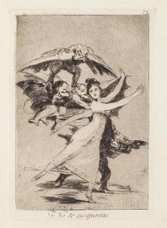 No te escaparas - Original Etching by Francisco Goya - 1868