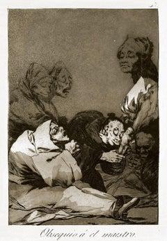 Obsequio a El Maestro  - Origina Etching and Aquatint by Francisco Goya - 1869