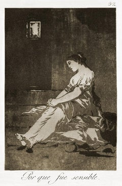 Por que fui Sensible  - Origina Etching by Francisco Goya - 1868