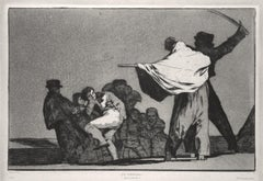 ¡Que Guerrero! - Original Etching and Aquatint by F. Goya - 1877