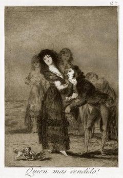 ¿Quién más rendido?  - Origina Etching by Francisco Goya - 1868