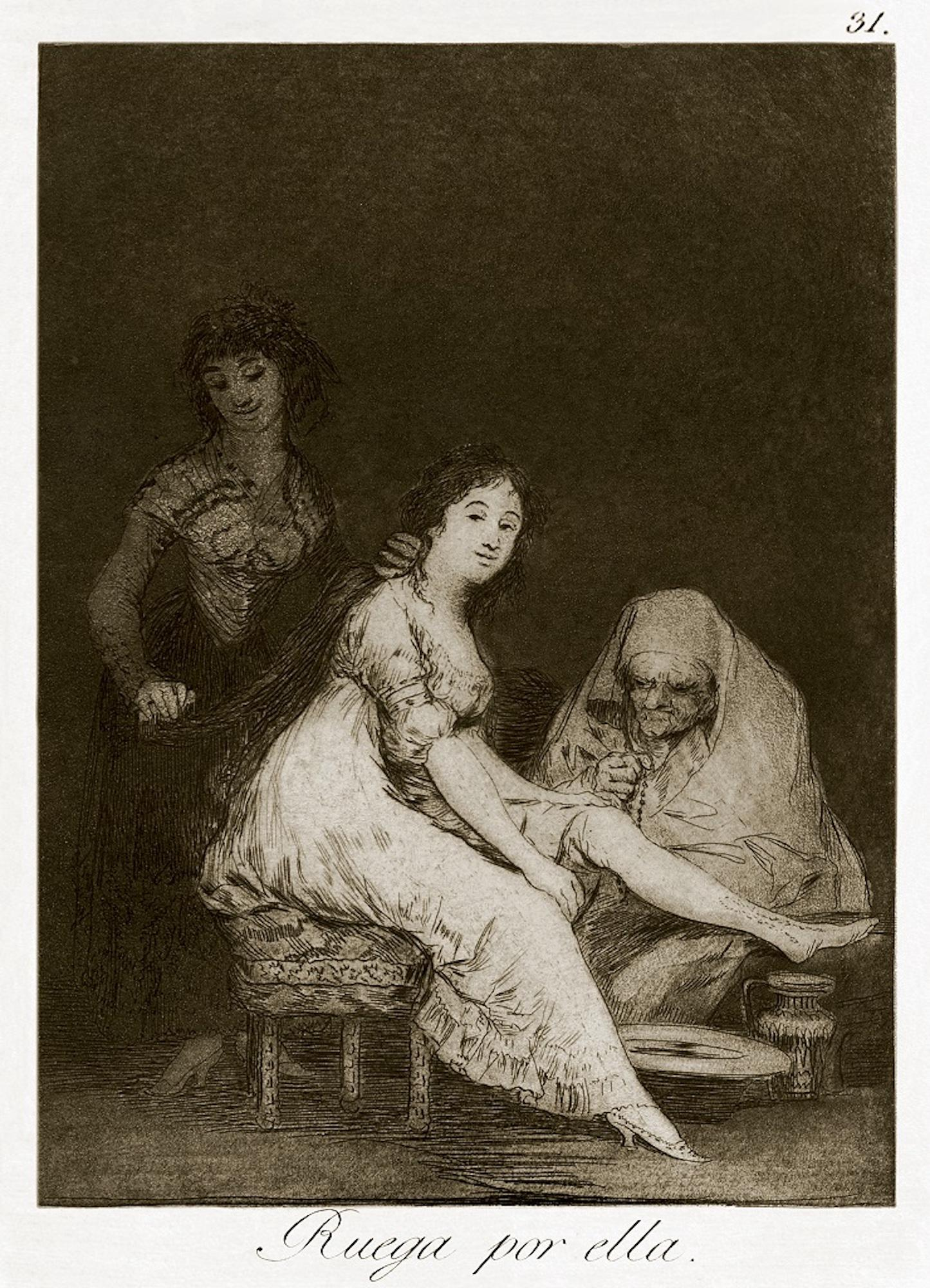 Ruega por Ella  - Origina Etching by Francisco Goya - 1868