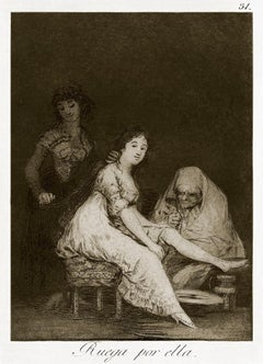 Ruega por Ella  - Origina Etching by Francisco Goya - 1868