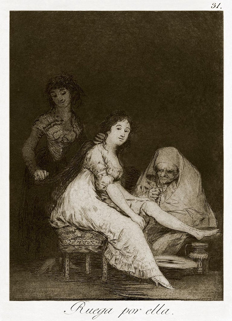 """Ruega por Ella is an original etching realized by the great Spanish artist Francisco Goya and published for the first time in 1799.  Original etching on paper.  The plate is part of the Third Edition of """"Los Caprichos"""" that has been published in"""