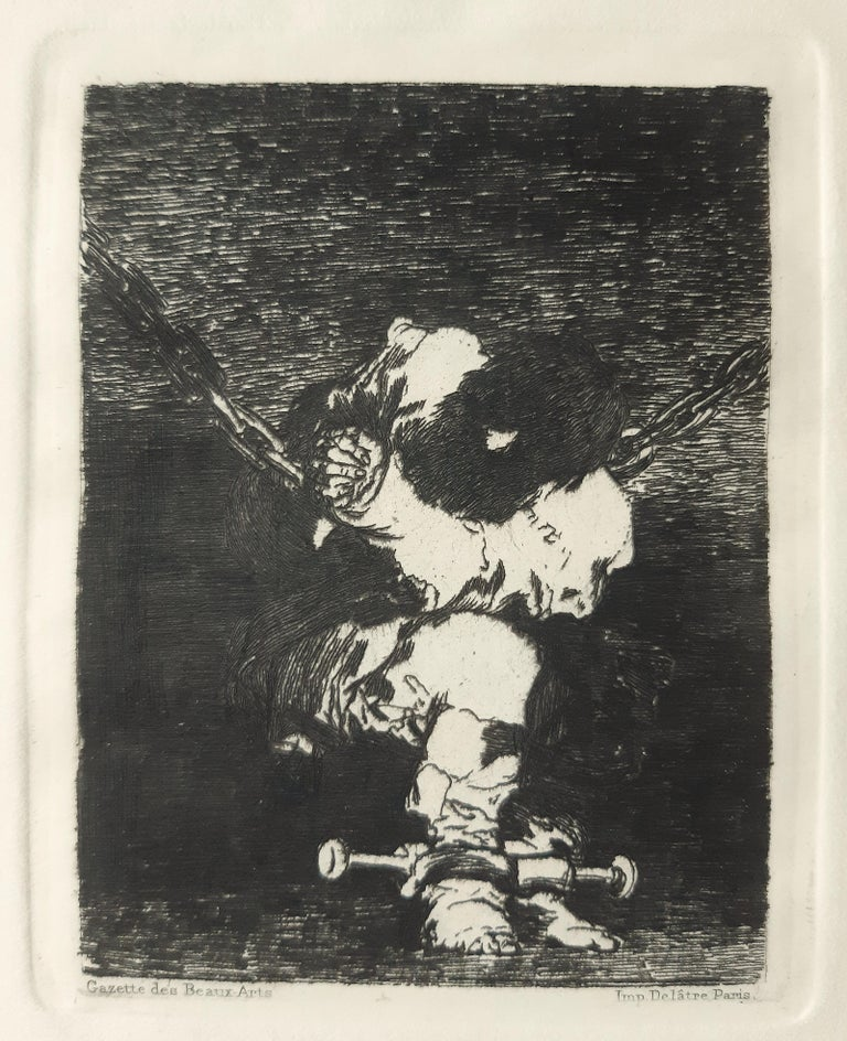 Tan Barbara la Seguridad Como el Delito is an original etching realized by Francisco Goya,  1st edition Gazette des Beaux arts, it realized in 1867.  In good conditions.   Here Goya is representing a man suffering from being prisoned and being