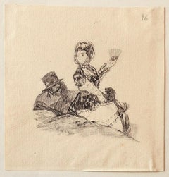 The Couple - Original Etching After F. Goya - 1900 ca