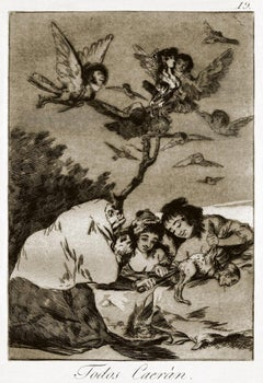 Todos Caeran  - Original Etching by Francisco Goya - 1868