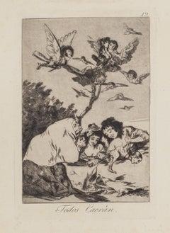 Todos Caeran  - Original Etching by Francisco Goya - 1868