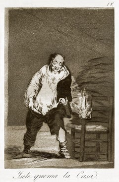 Y se le quema la casa  - Original Etching by Francisco Goya - 1868