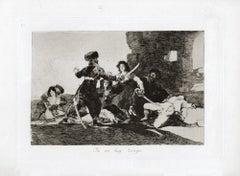 Ya no hay Tiempo  - Original Etching by Francisco Goya - 1863