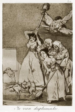 Ya van Desplumados  - Original Etching by Francisco Goya - 1868