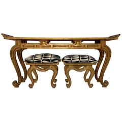 Francisco Hurtado Carved Giltwood Console Table and Stools, circa 1950s