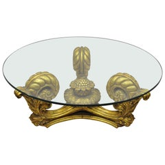 Francisco Hurtado Italian Spanish Hollywood Regency Gold Giltwood Coffee Table