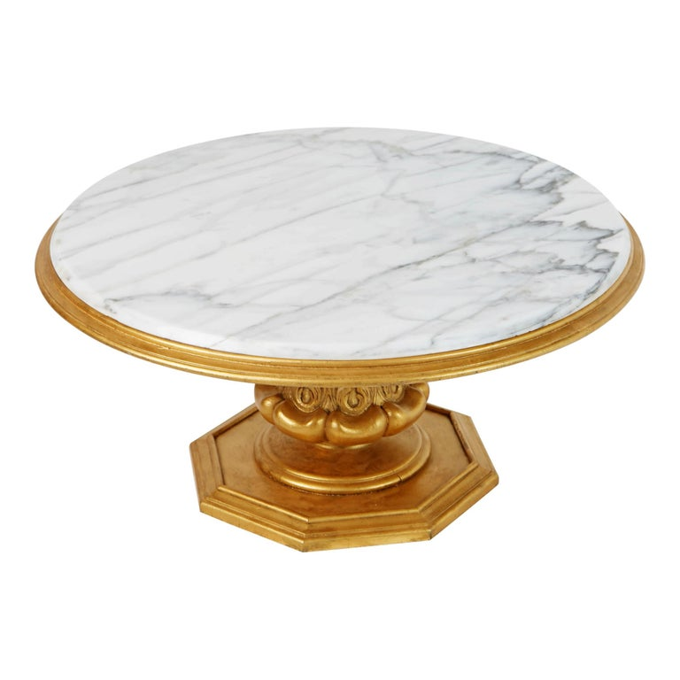 Regency Francisco Hurtado Marble and Giltwood Coffee Table, Spain, circa 1950 For Sale
