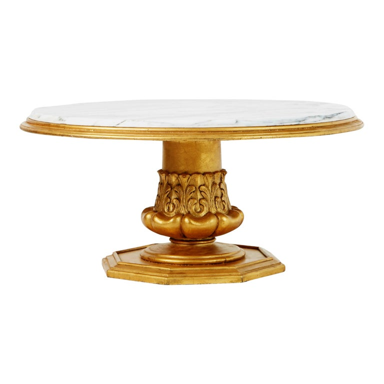 Francisco Hurtado Marble and Giltwood Coffee Table, Spain, circa 1950 In Excellent Condition For Sale In Los Angeles, CA