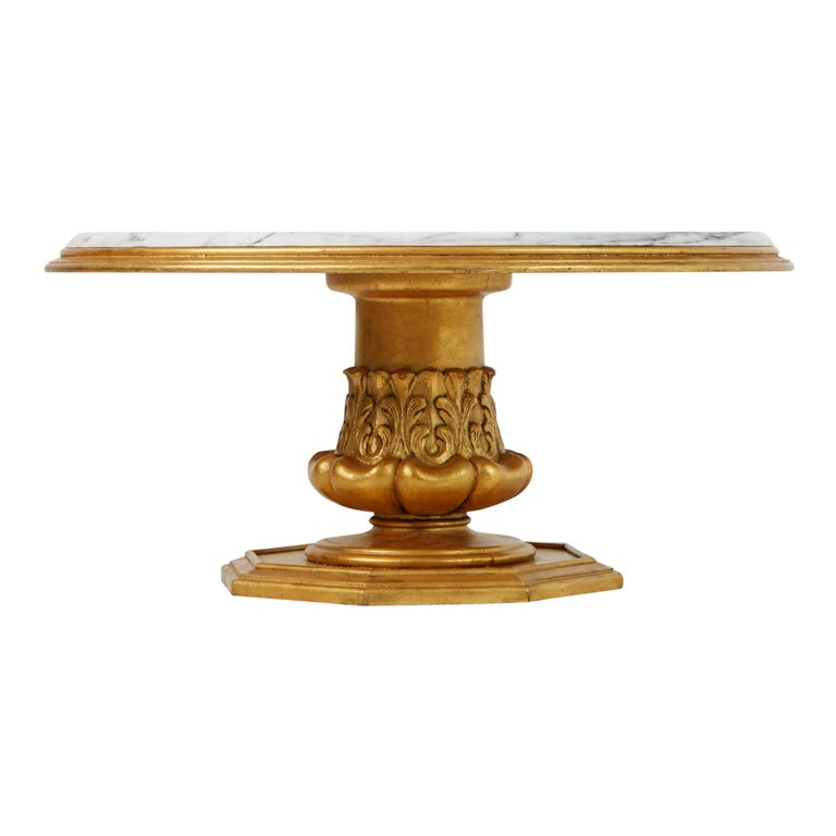 Mid-20th Century Francisco Hurtado Marble and Giltwood Coffee Table, Spain, circa 1950 For Sale