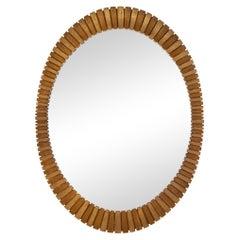 Francisco Hurtado-Style Bronze & Gold Oval Mirror, 1970s