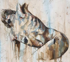 Breathe by Francisco Jimenez - Textured, Abstract Male Nude Figurative Painting