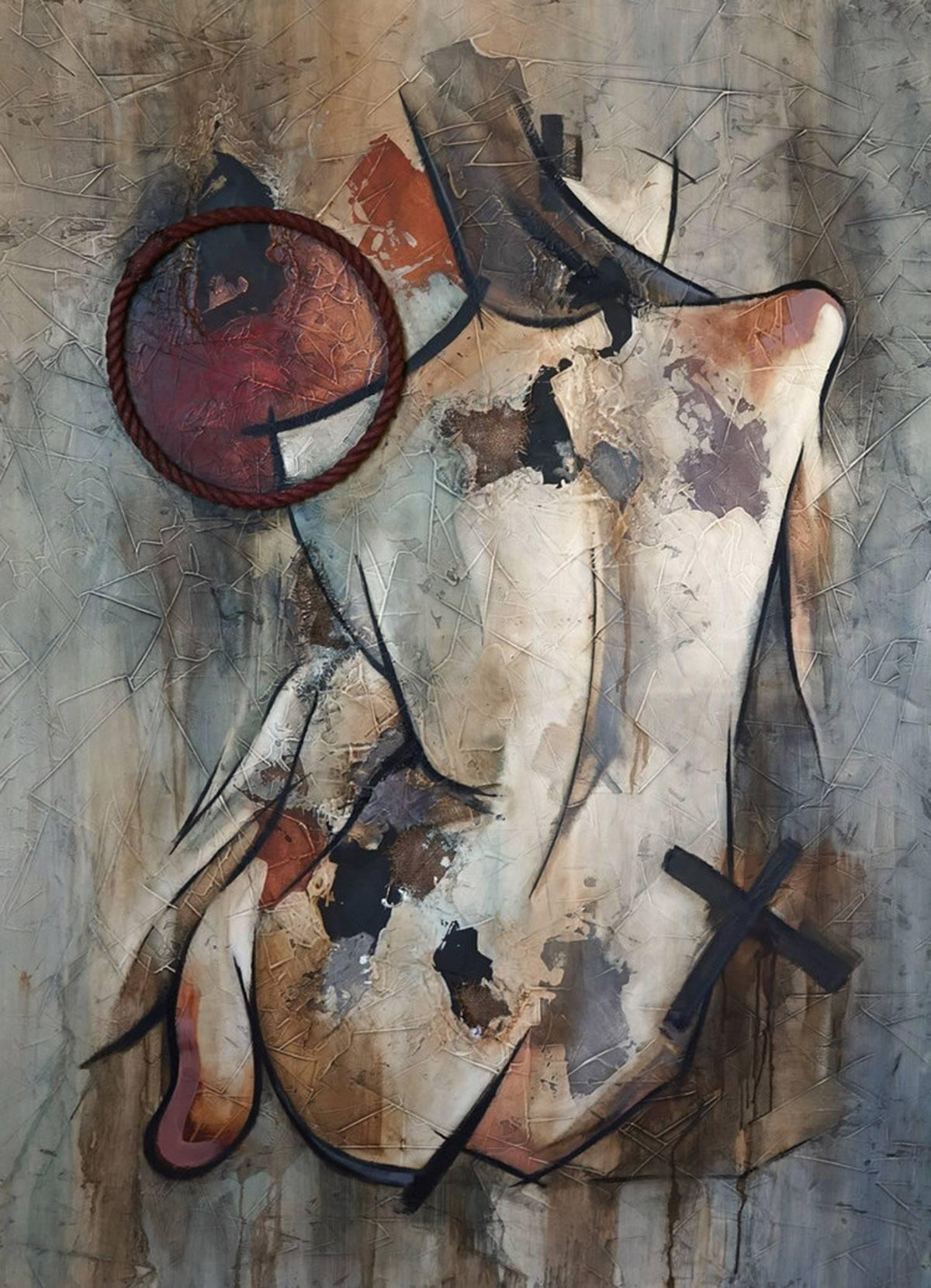 Detachment by Franciso Jimenez Mixed Media, Abstract Nude Figurative Painting