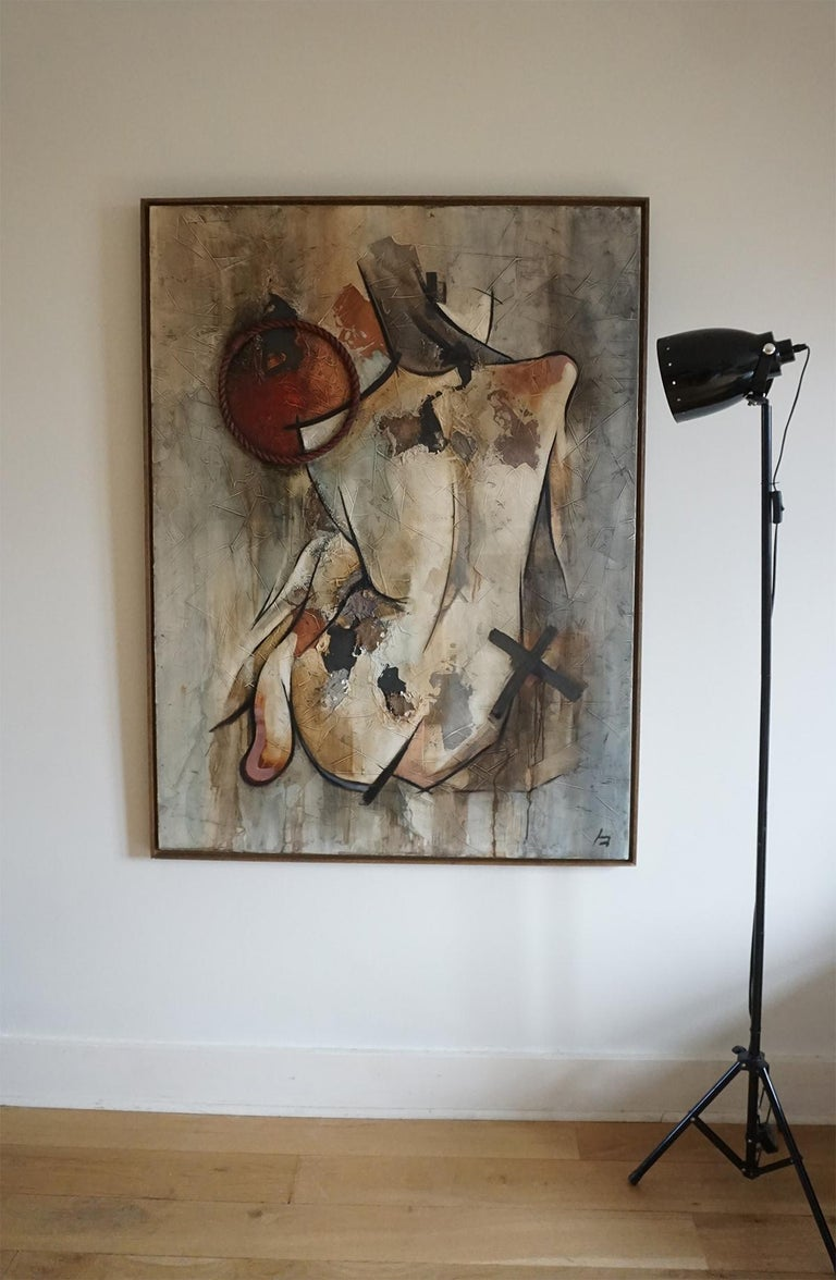 Detachment - Mixed Media, Abstract Nude Figurative Painting For Sale 3