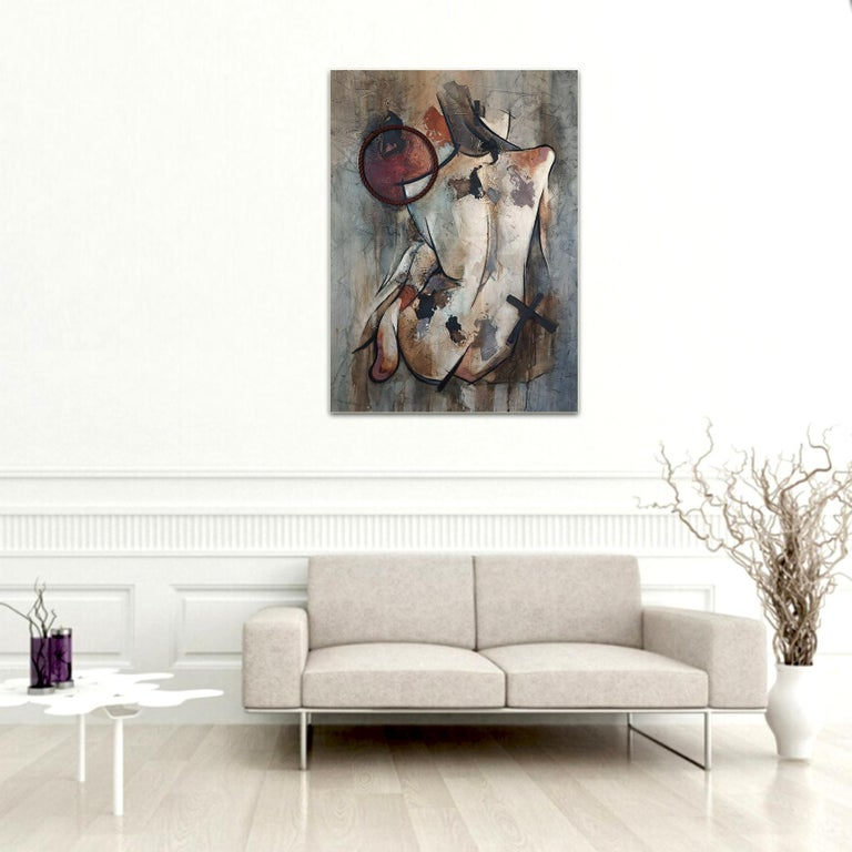Detachment - Mixed Media, Abstract Nude Figurative Painting For Sale 4