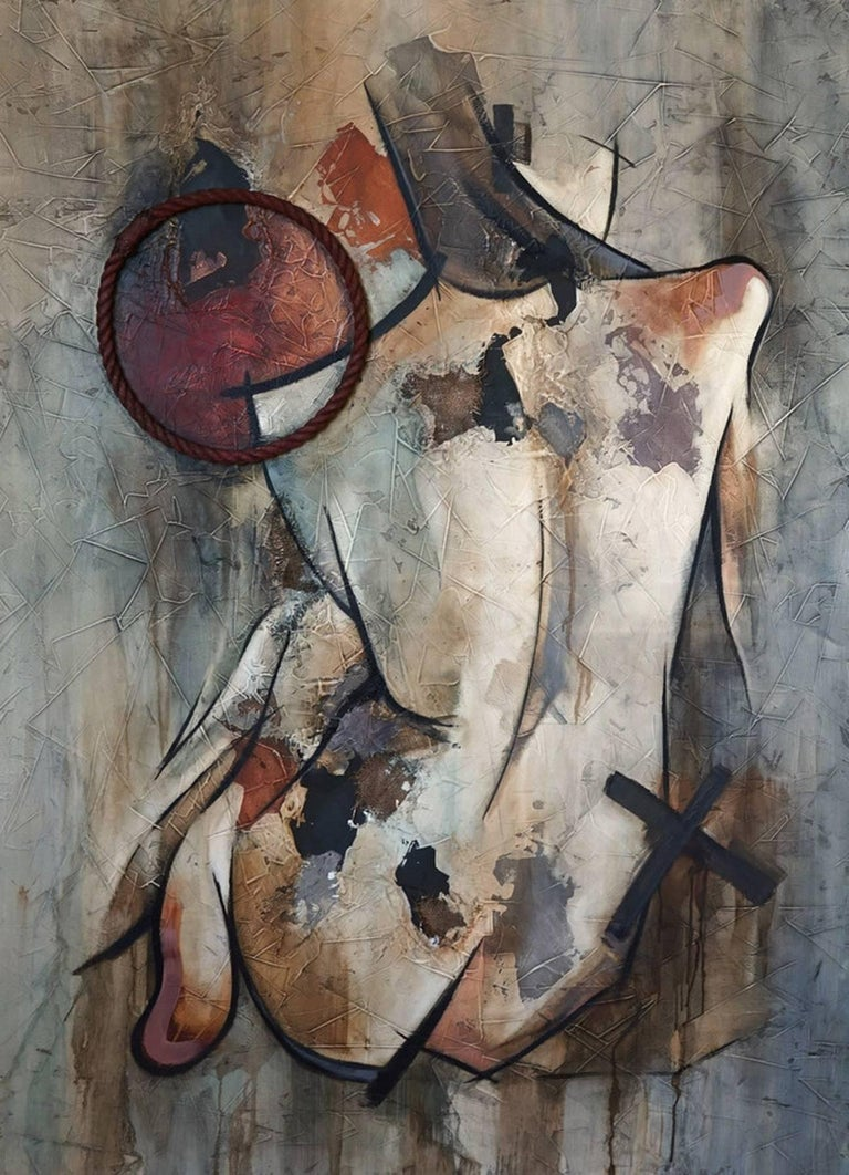 Francisco Jose Jimenez paints abstracted nude paintings using a range of materials, such as fabric, concrete, pieces of plastic etc. His portraits tell stories of imperfect beauty, in contrast to today's perfect portrayal of naked women in the
