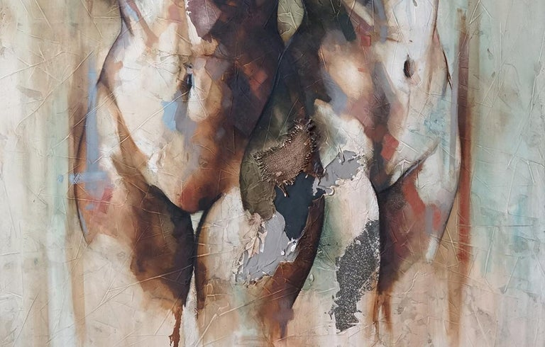 Efimero - Mixed Media, textured, Abstract Nude Figurative painting of two women - Contemporary Painting by Francisco Jose Jimenez