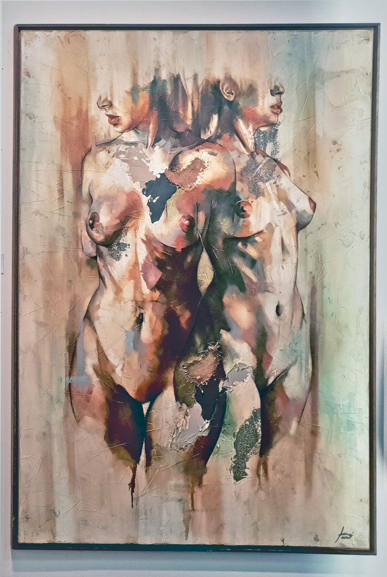 Efimero - Mixed Media, textured, Abstract Nude Figurative painting of two women For Sale 1