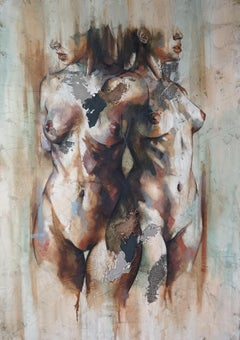 Efimero - Mixed Media, textured, Abstract Nude Figurative painting of two women