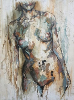 Fragile by F. Jimenez - Contemporary, Abstract Female Nude Figurative Painting