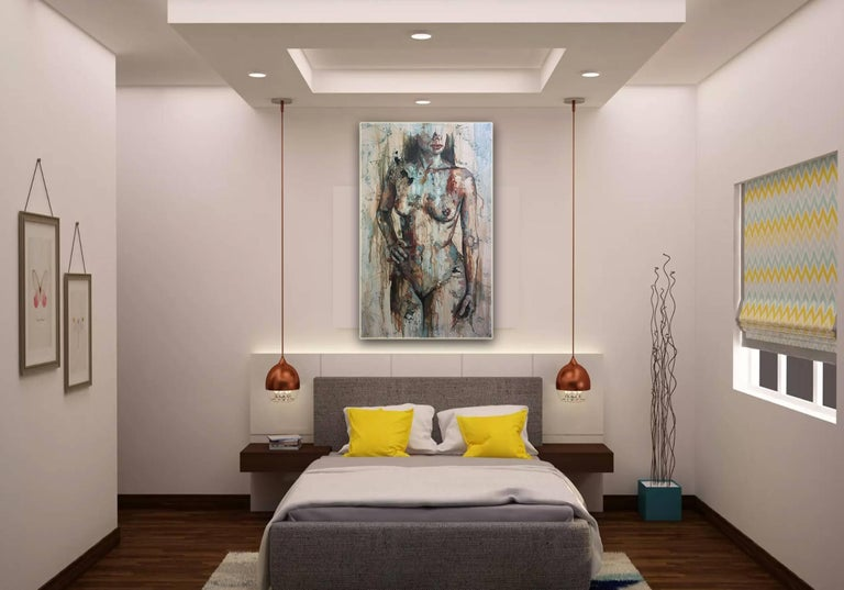 Shapes - Mixed Media, Abstract Nude Figurative Painting For Sale 1