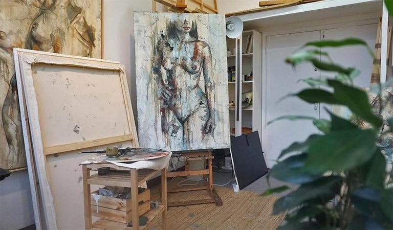 Shapes - Mixed Media, Abstract Nude Figurative Painting For Sale 2