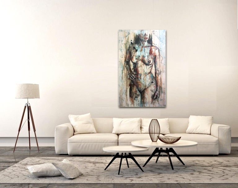 Shapes - Mixed Media, Abstract Nude Figurative Painting For Sale 4