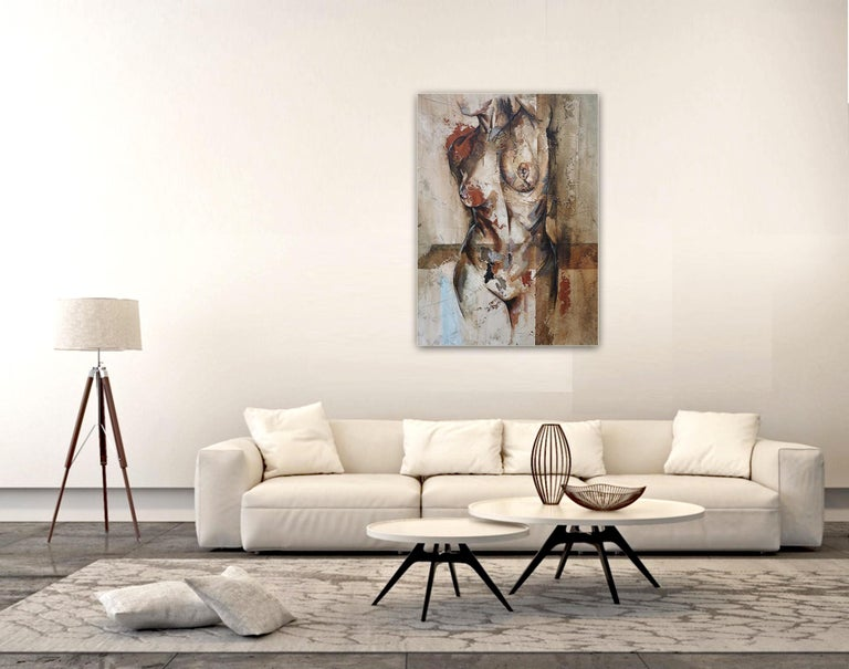 Swing - Mixed Media, Abstract Nude Figurative Painting 3
