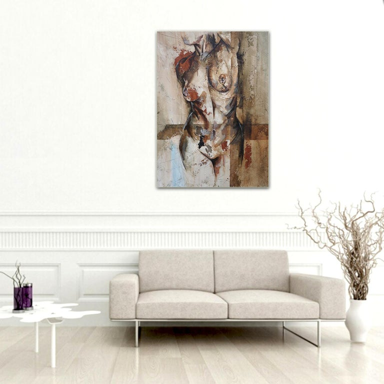 Swing - Mixed Media, Abstract Nude Figurative Painting 4