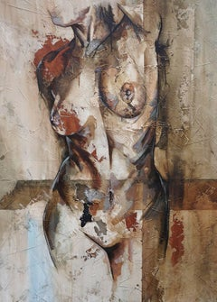Swing - Mixed Media, Abstract Nude Figurative Painting