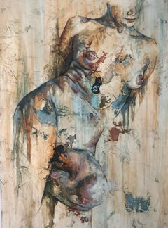 Traces by Francisco Jimenez - Modern, Abstract Painting of Nude Figurative Woman