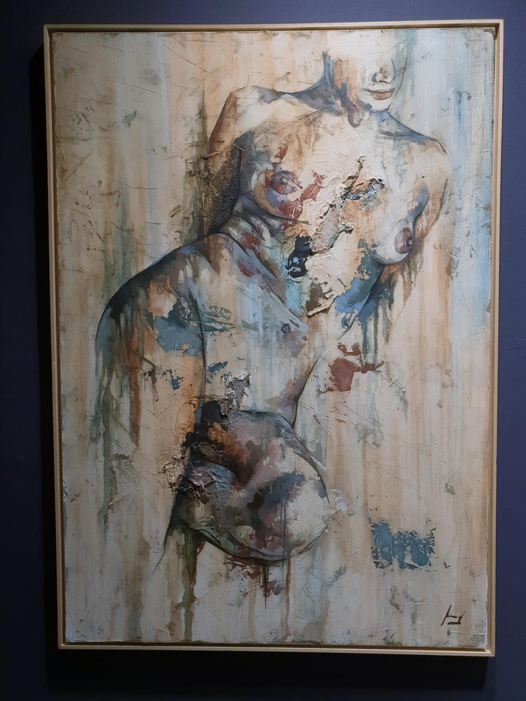 Traces by Francisco Jimenez - Modern, Abstract Painting of Nude Figurative Woman For Sale 8