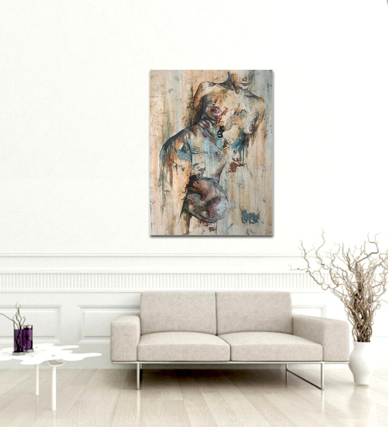 Traces by Francisco Jimenez - Modern, Abstract Painting of Nude Figurative Woman For Sale 1
