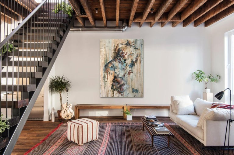 Traces by Francisco Jimenez - Modern, Abstract Painting of Nude Figurative Woman For Sale 2