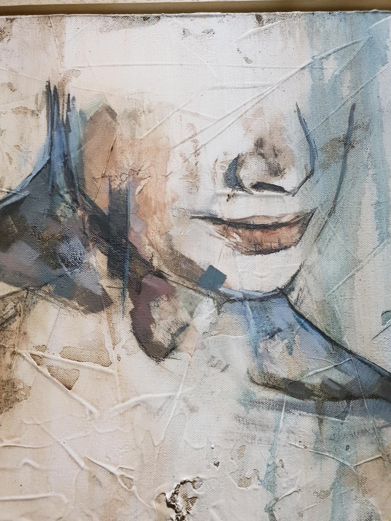 Traces by Francisco Jimenez - Modern, Abstract Painting of Nude Figurative Woman For Sale 4