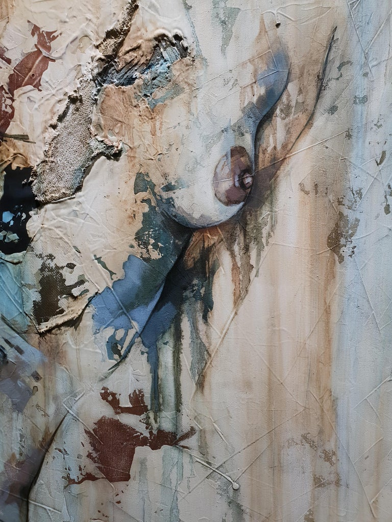 Traces by Francisco Jimenez - Modern, Abstract Painting of Nude Figurative Woman For Sale 5