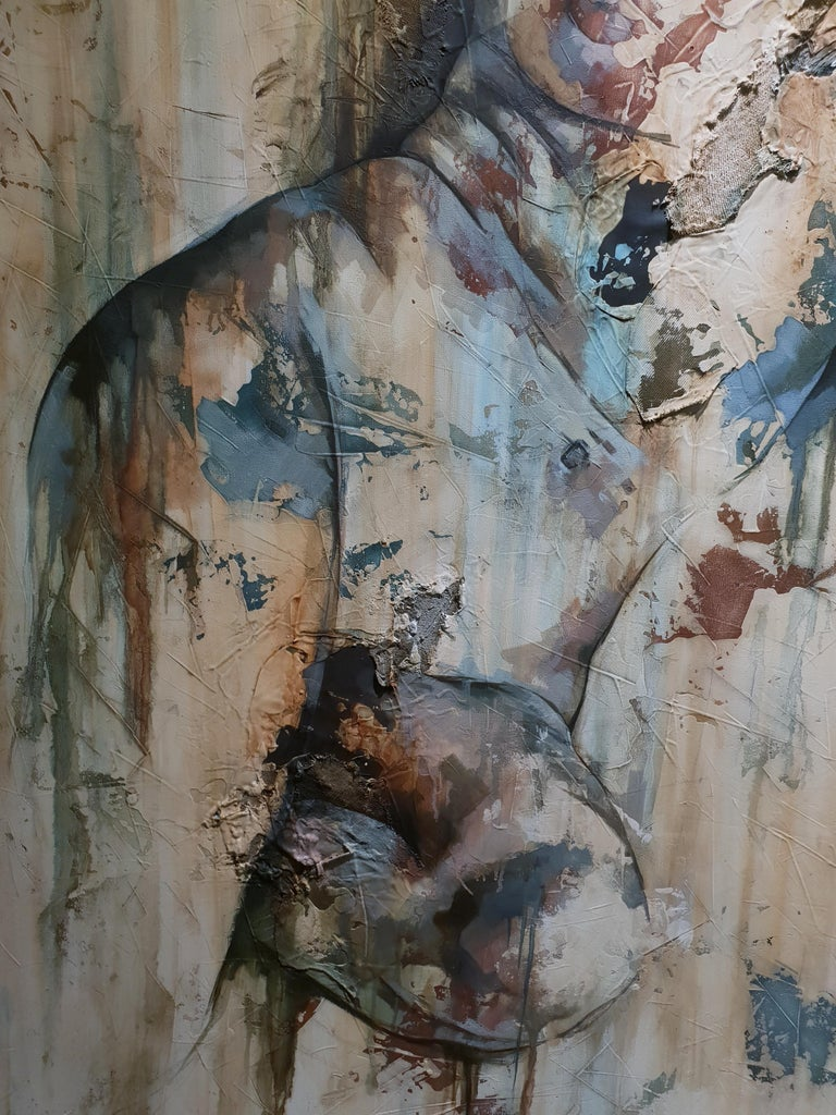 Traces by Francisco Jimenez - Modern, Abstract Painting of Nude Figurative Woman For Sale 6