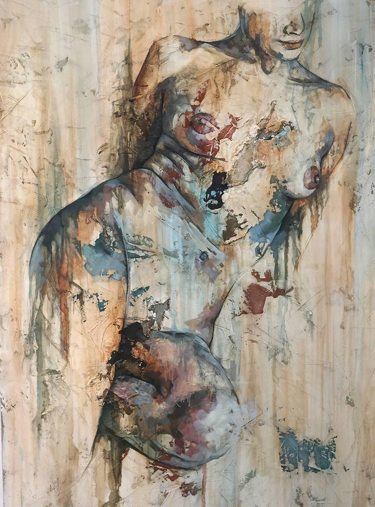 Francisco Jose Jimenez Figurative Painting - Traces by Francisco Jimenez - Modern, Abstract Painting of Nude Figurative Woman