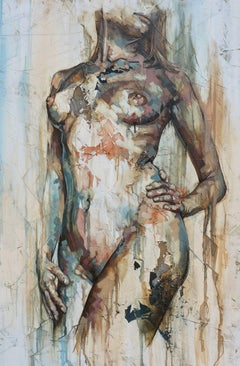 Virtud by Francisco Jimenez - Mixed Media, Abstract Nude Figurative Painting