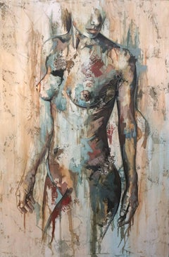 Whisper by Francisco Jimenez Mixed Media, Abstract Nude Figurative Painting