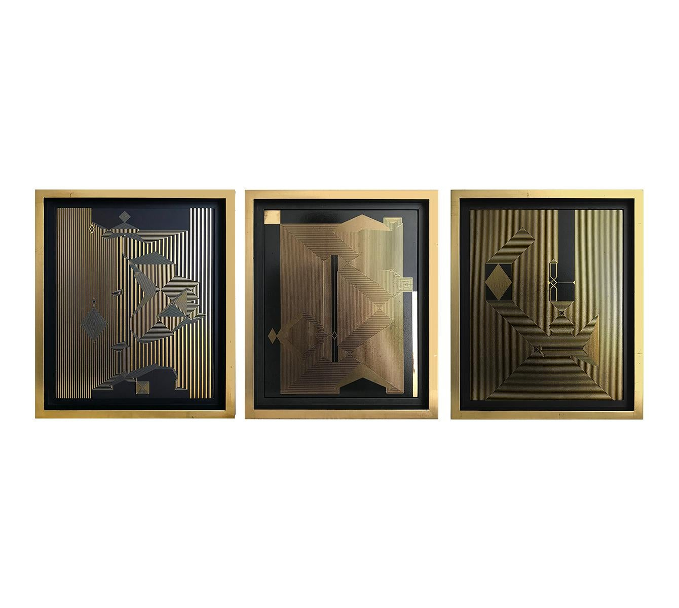 Untitled 15, 16 and Untitled 17,  Lacquer, Acrylic, Oil and Gold Leaf on MDF