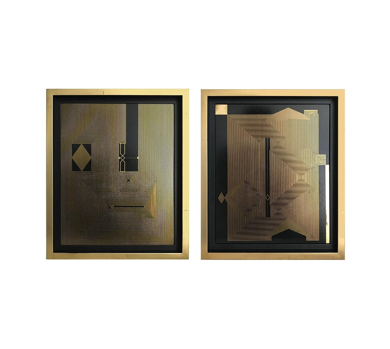 Untitled 17 and Untitled 16, 2019, Lacquer, Acrylic, Oil and Gold Leaf on MDF