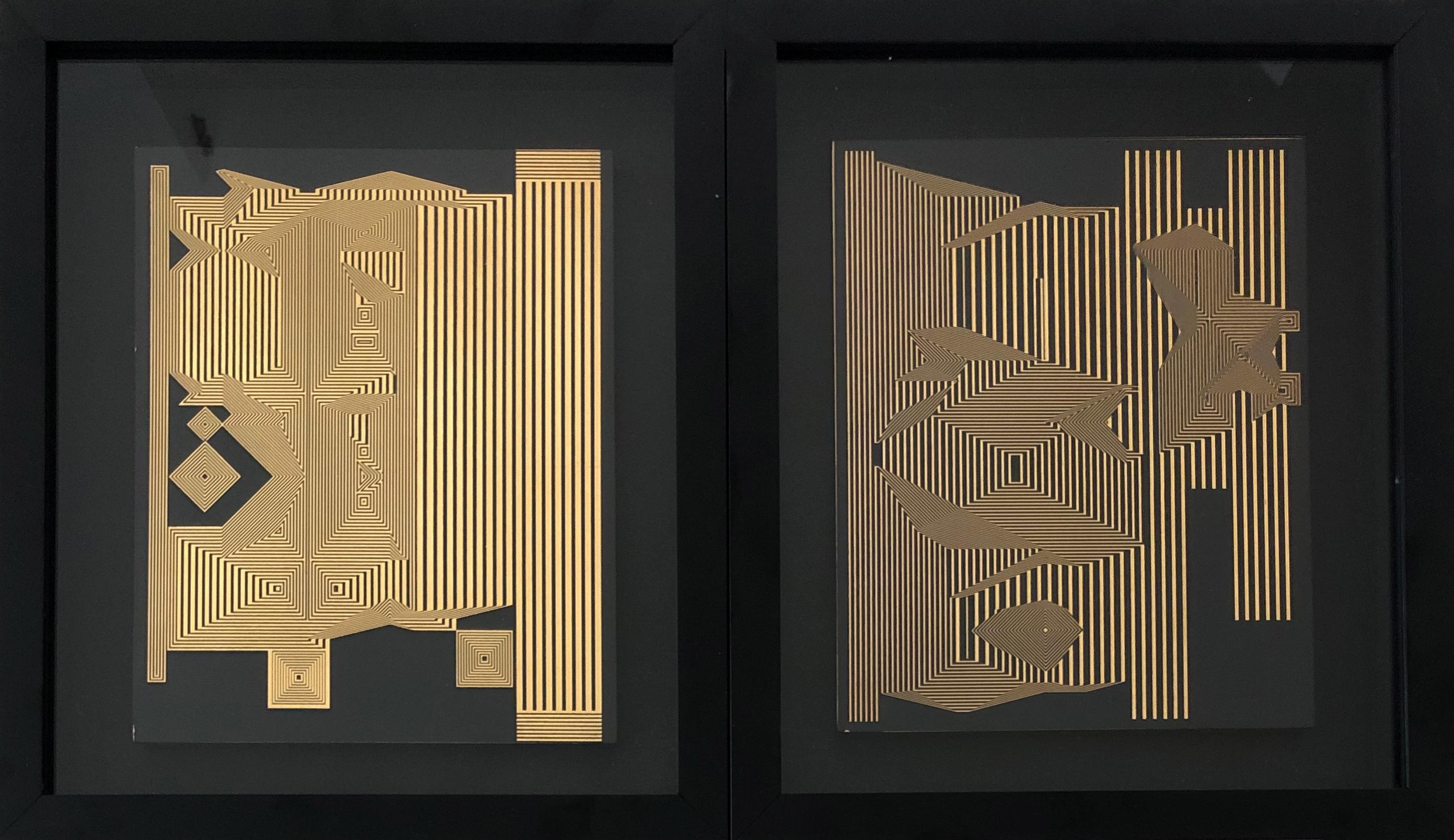 Untitled & Untitled 13 Diptych Gold Leaf on MDF Framed