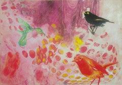 Birds 016 - Mixed Media, Contemporary, Animals, Painting, Acrylic , Abstract